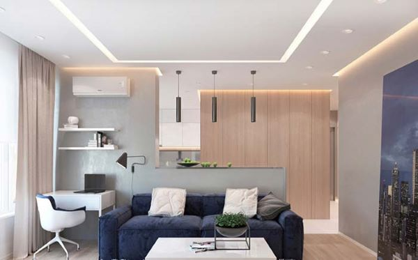 Rebaixamento de gesso para sala e cozinha integrada