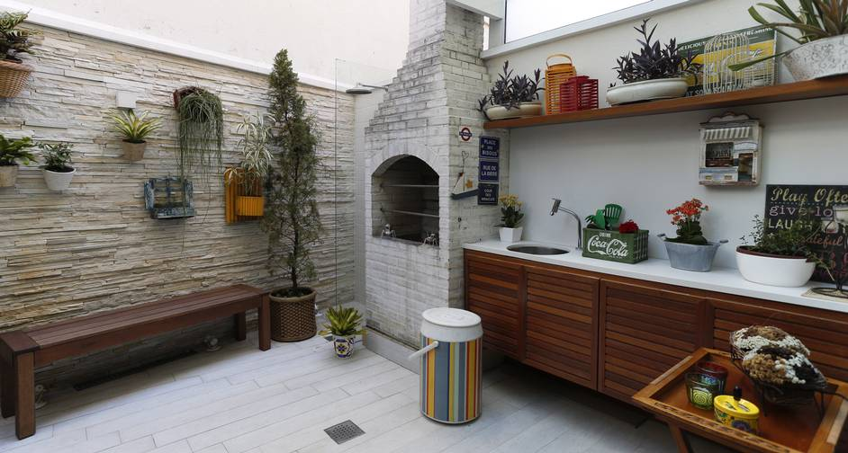 Área de churrasco elegante