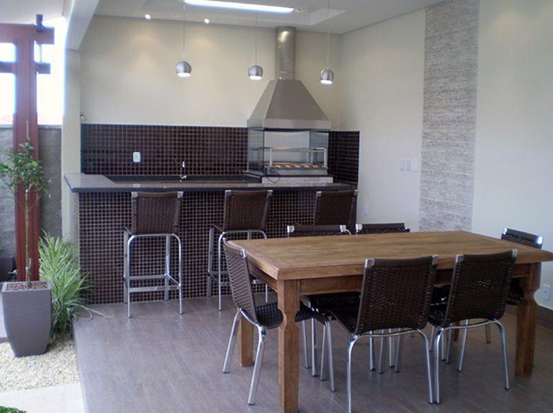 Área de churrasco para casa pequena