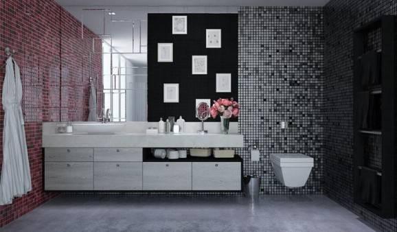 Banheirocom pastilhasde duas cores distintas