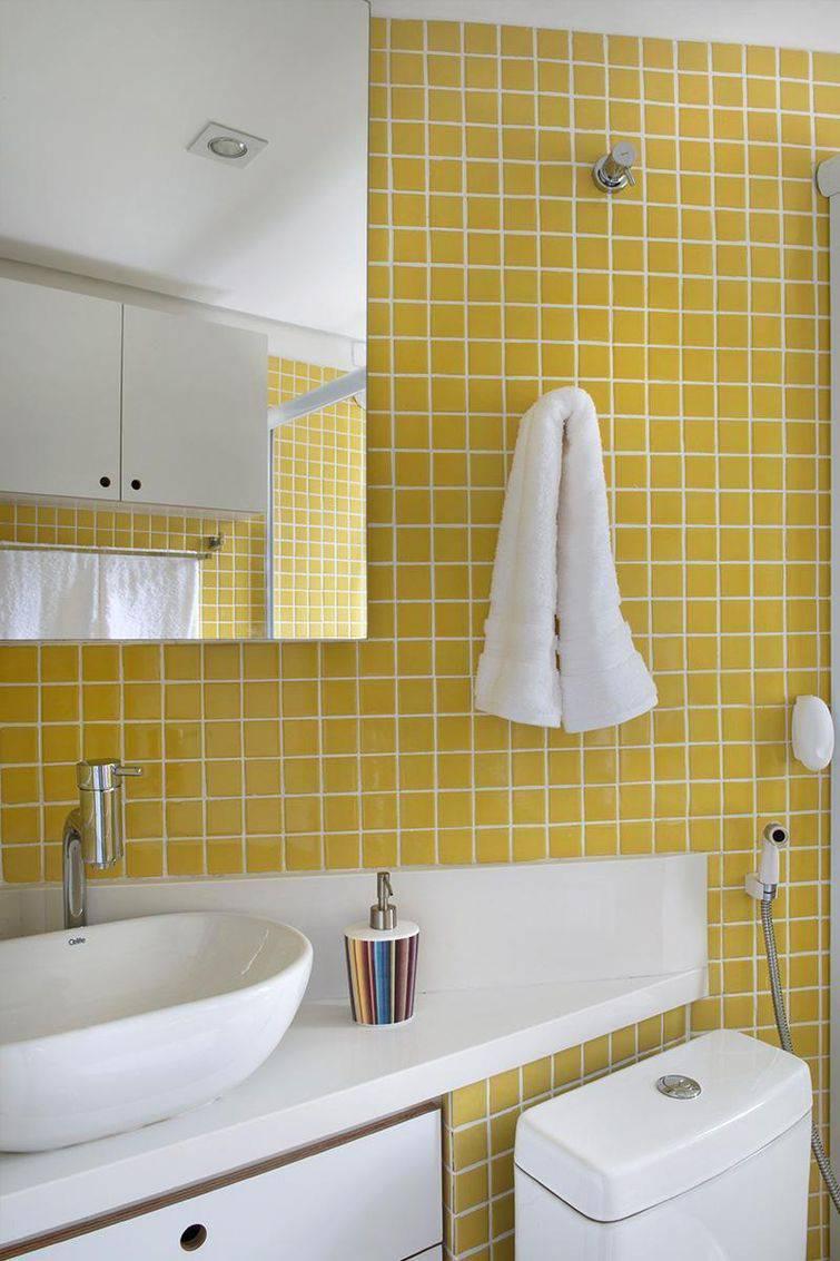 97 Banheiros decorados com Eficiência e Cuidado -> Banheiros Decorados Com Pastilhas Amarelas