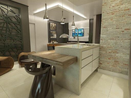Cozinha americana com teto de gesso baixo Projeto de Ednilson Hin