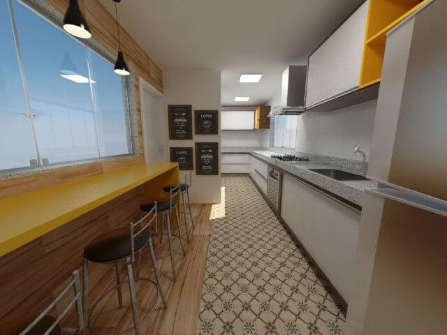 Cozinha com ladrilho e porcelanato como pisos que imitam madeira Projeto de Juliana da Mata