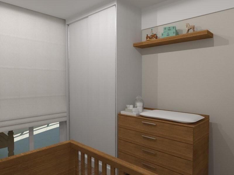 Guarda-roupa planejado pequeno em quarto de bebê Projeto de Essa Arquitetura
