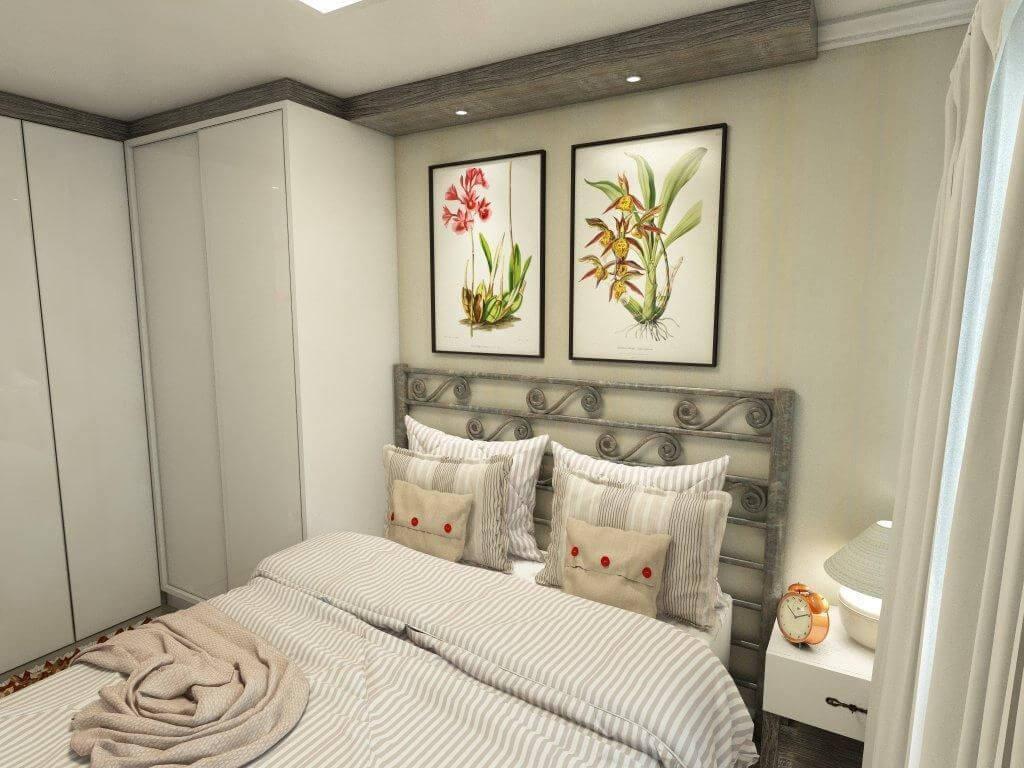 Guarda-roupa planejado branco em quarto de casal pequeno