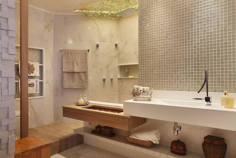 Modelos de banheiros para inspirar a sua decoração -> Banheiro Com Pastilhas Na Pia