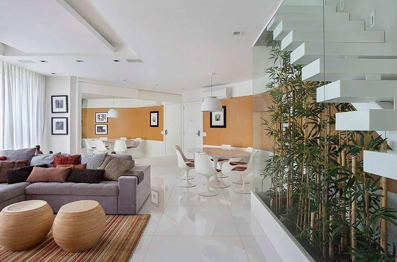 Plantas para apartamento - escada com fechamento de vidro e plantas em bambu