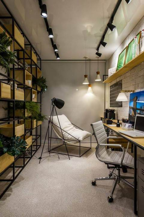 Plantas para apartamento - escritório moderno com nichos com plantas