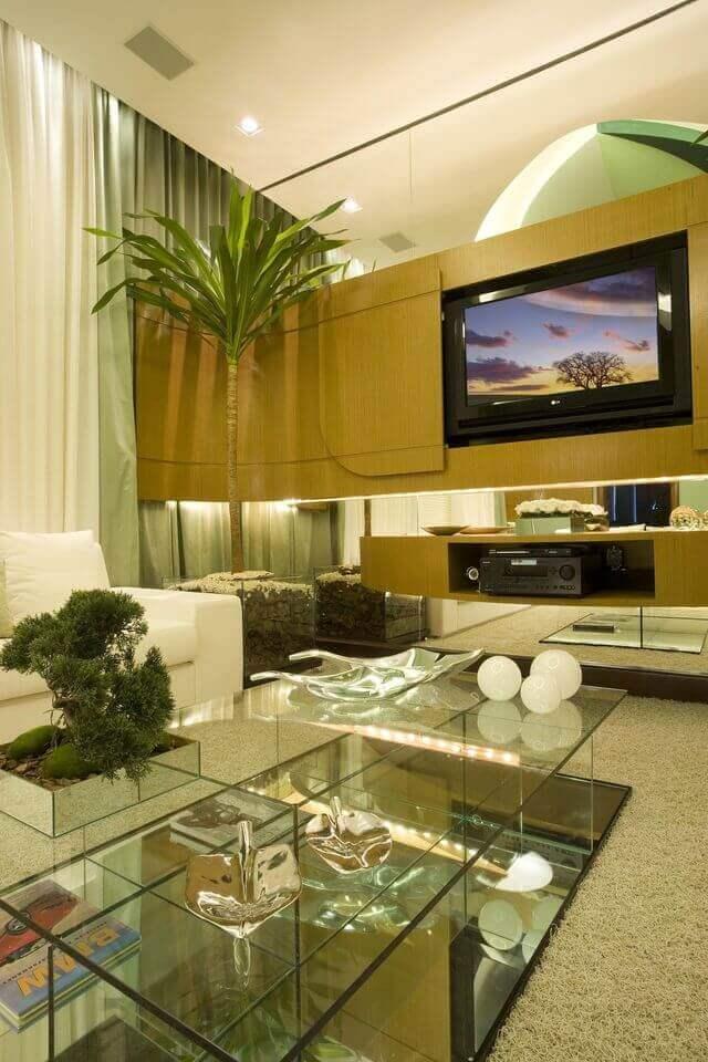 Plantas para apartamento - home theater com plantas decorativas