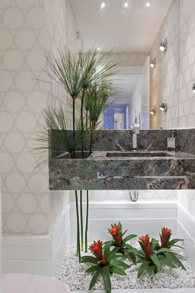 Plantas para apartamento - lavabo com mármore e plantas