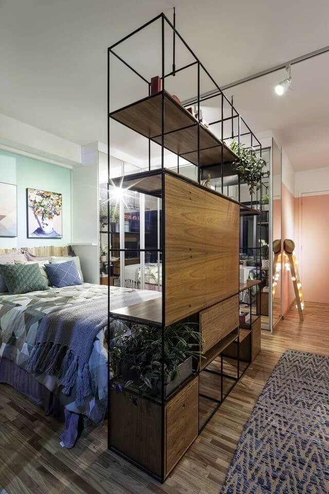 Plantas para apartamento - quarto para casal e sala de estar integrados