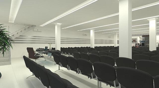 Sala de conferência com teto de gesso com iluminação interna Projeto de Leandro Nobre