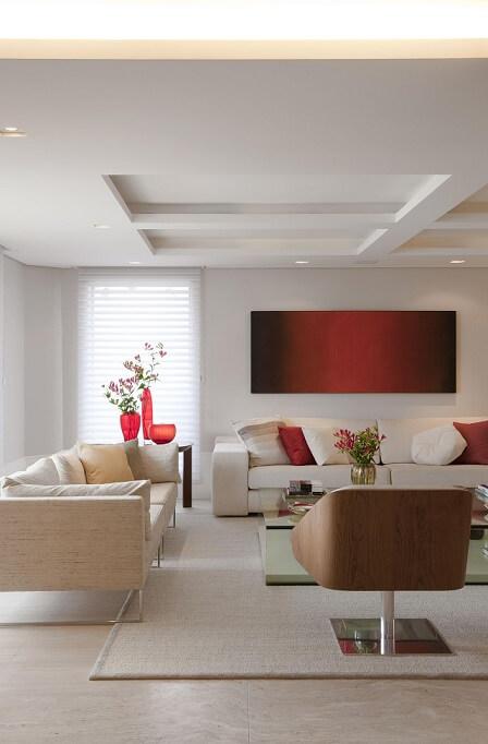 Sala de estar com teto de gesso Projeto de Marcelo Rosset