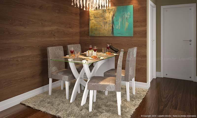 Sala de jantar com pisos que imitam madeira Projeto de Lojas KD