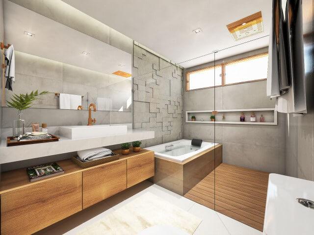 Suíte com pisos que imitam madeira Projeto de Bruna Sessa