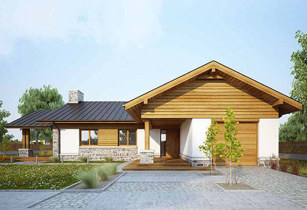 Telhas de zinco em casa de madeira