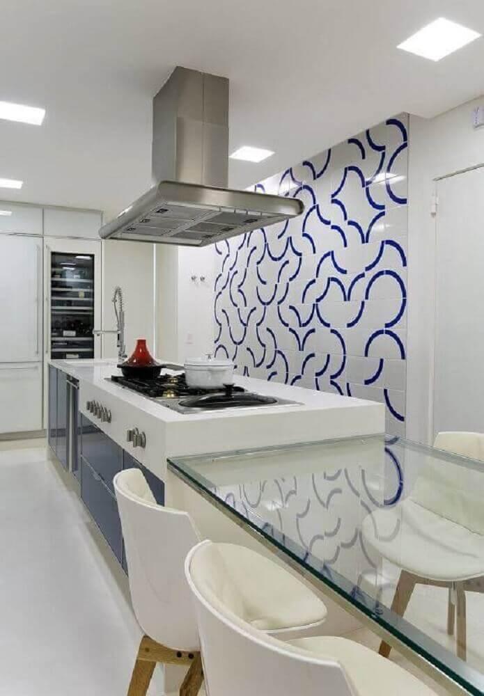 Azulejo para cozinha branco e azul
