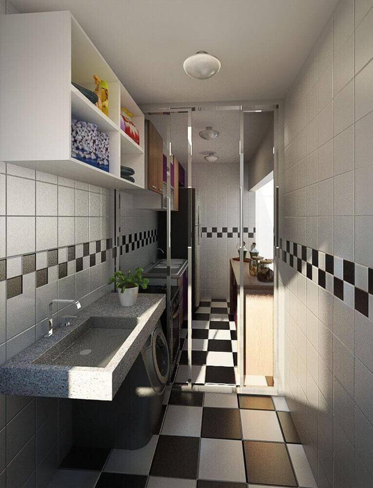 Decoração com azulejo para cozinha preto e branco