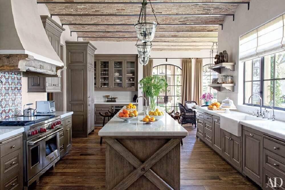 azulejo decorado para cozinha rústica