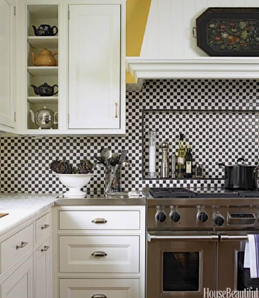 azulejo para cozinha quadriculado preto e branco