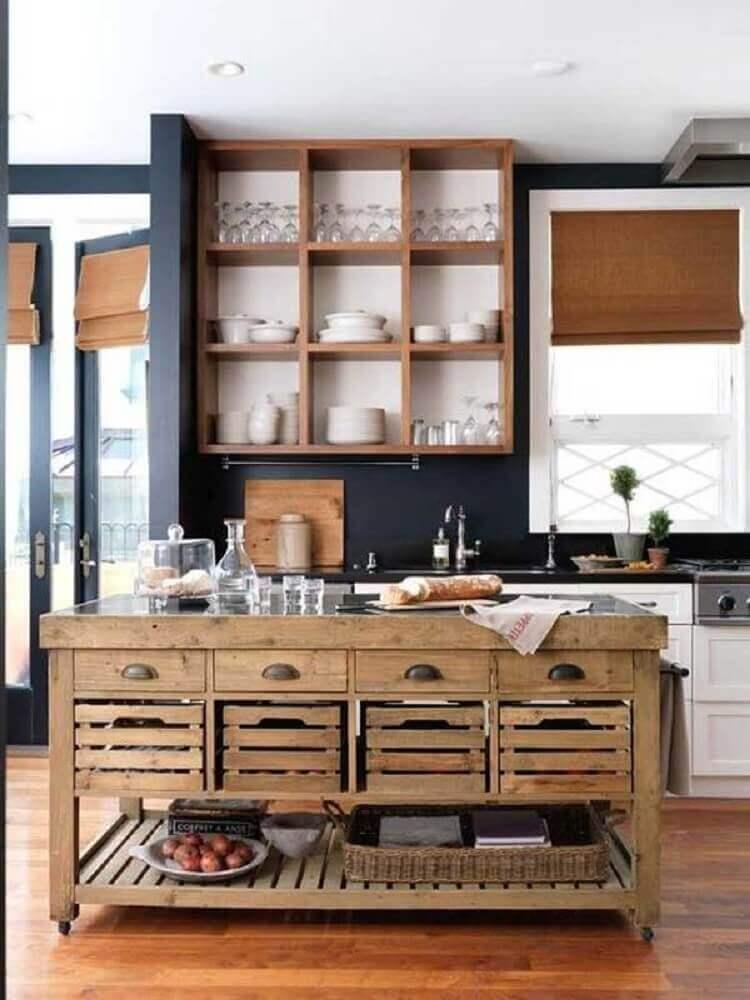 cozinha rústica com parede preta