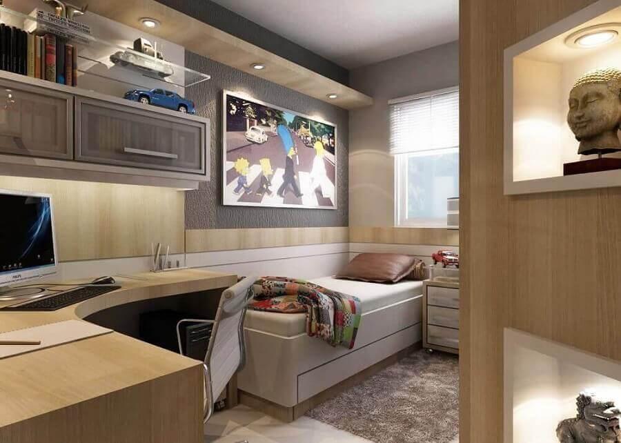 decoração em tons neutros com bancada para quarto de solteiro Foto Jet Dicas