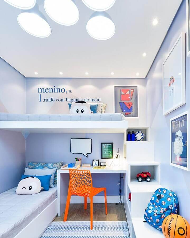 decoração toda branca com bancada para quarto infantil Foto Pro Arquitetos Associados