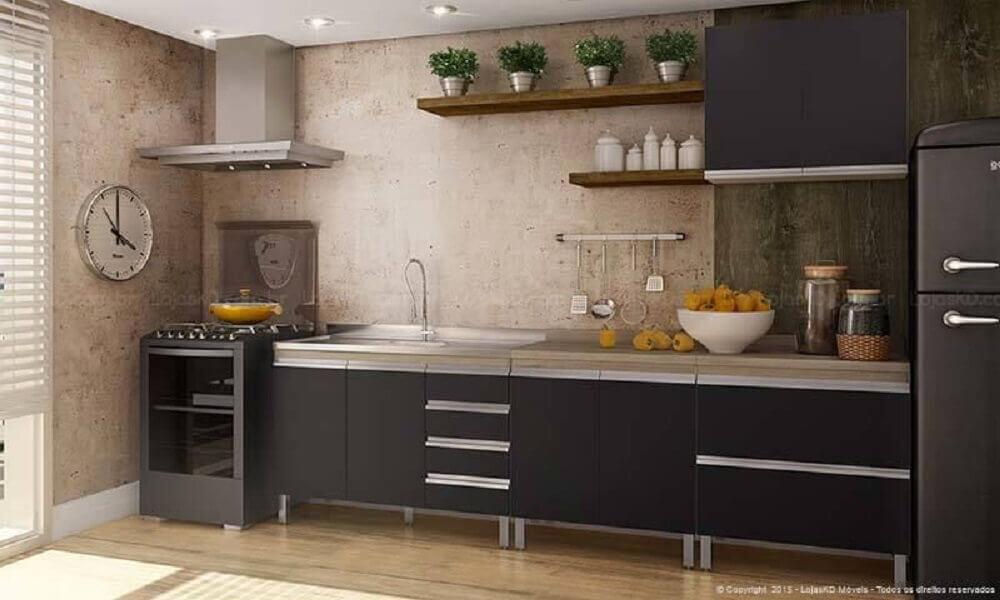 Cozinha rústica com parede de cimento queimado