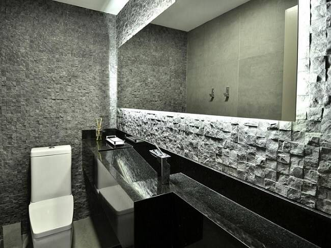 reforma de banheiro bancada embutida preta mairas chaff 36587