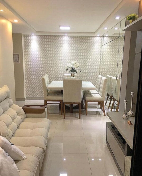 teto de gesso em sala de jantar