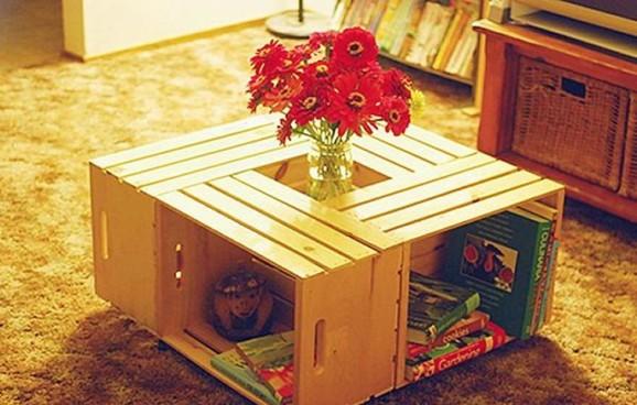 decoração barata caixote