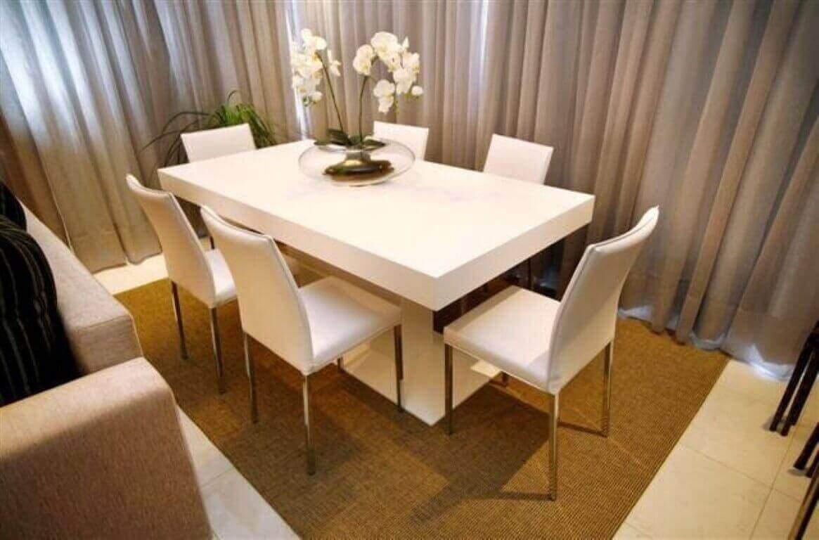 Como cuidar de orquídea em sala de jantar branca
