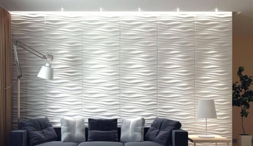 Parede de gesso 3D na sala