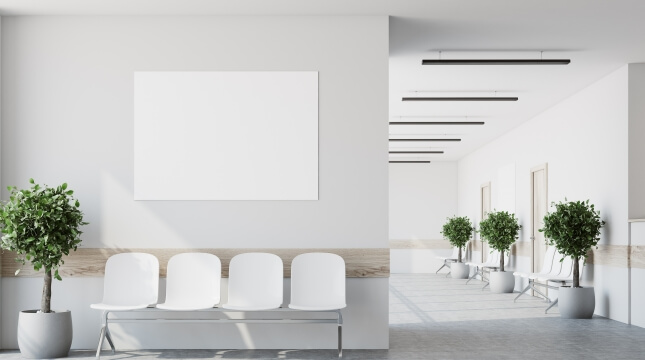 Parede de gesso em sala de espera