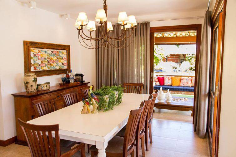 decoração de sala de jantar rustico de madeira