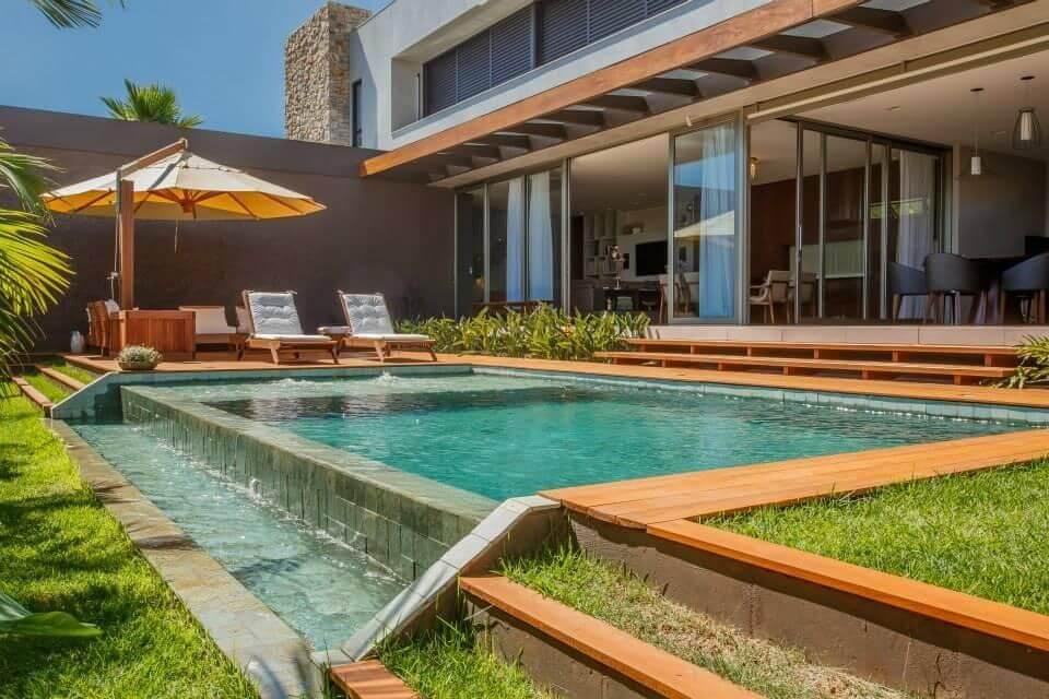 piscina com degrau de cascata wt studio 67469