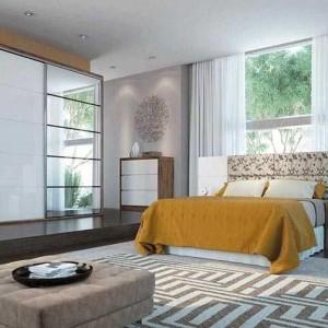 quartos de casal decorados com tapete geométrico