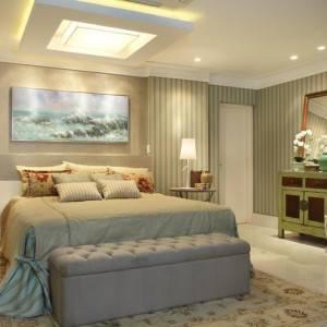 quartos de casal decorados com pufe cinza