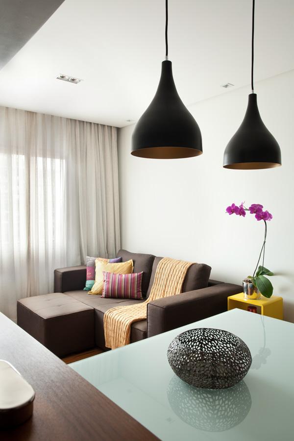 Sala Detalhe Apartamento pequeno brooklin liliana zenaro