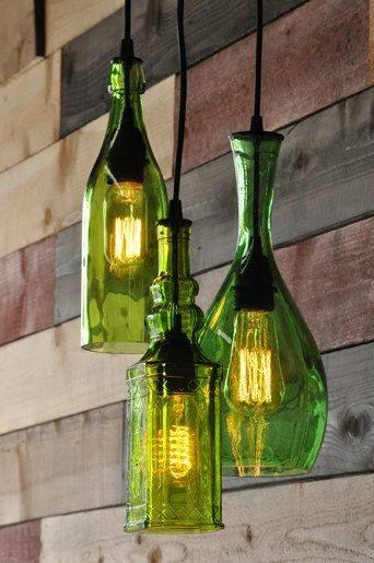 luminaria com garrafa fotos de jardim