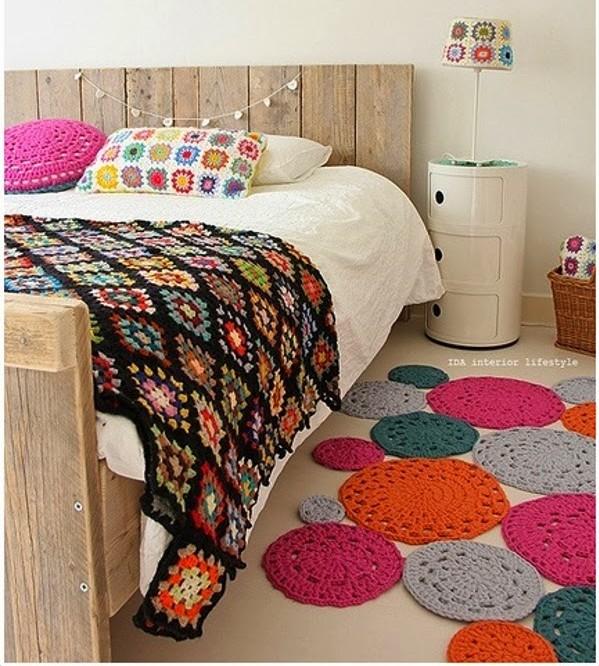 tapetes em croche coloridos faça você mesmo decoração