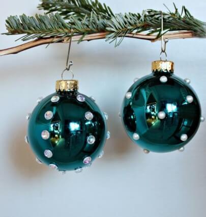 bolas de natal azul com perolasdiy-globe