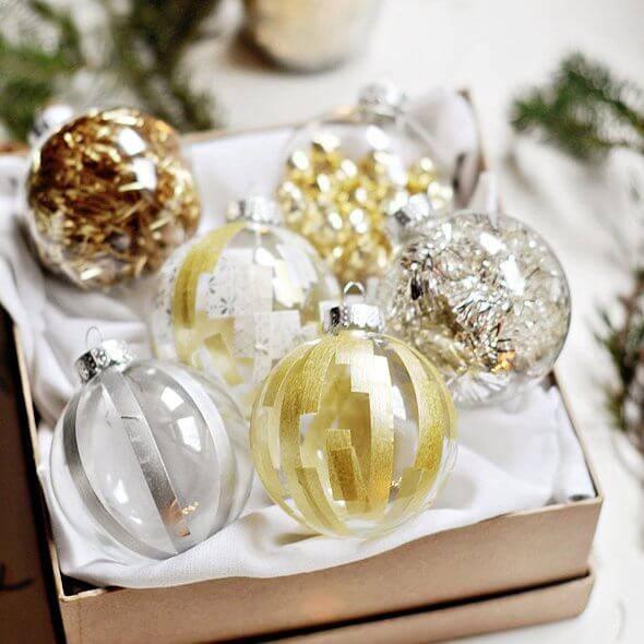 bolas de natal prata dourada e cobre