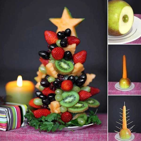 enfeites de natal - arvore de natal com frutas - ceia