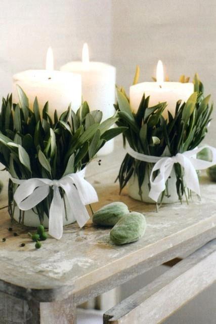 decoração de ano novo - vela com folhas de louro