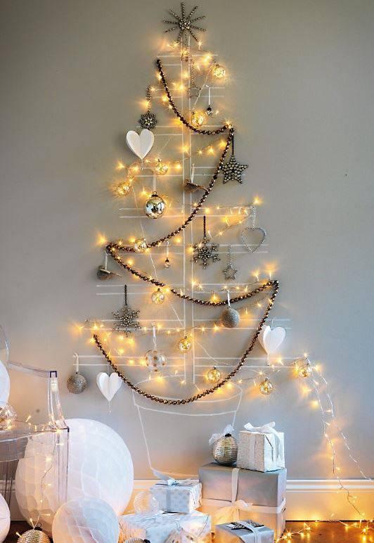 enfeites de natal - arvore de natal de parede com luzes