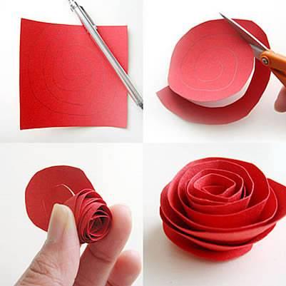 rosas de papel natal diy