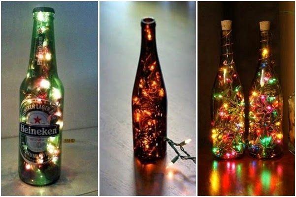 diy natal garrafas abajur