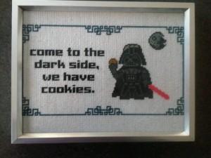 decoração star wars quadro bordado darkside cookies