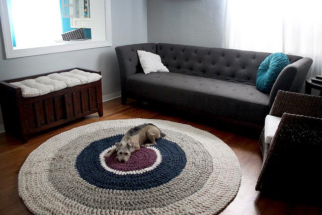 tapetes de crochê barbante cinza